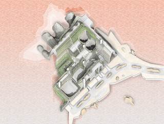 Cropped plan drawing with rendered vignette of the same space.
