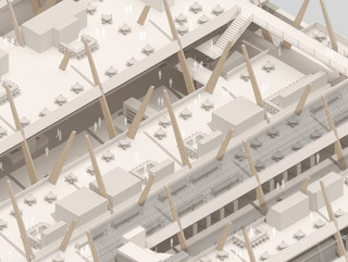 Axonometric drawing with roof removed to reveal structure.