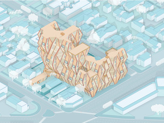 Isometric drawing of mass timber housing development situated in a typical single-story Los Angeles residential block.