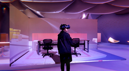 Image of a woman experiencing a VR environment