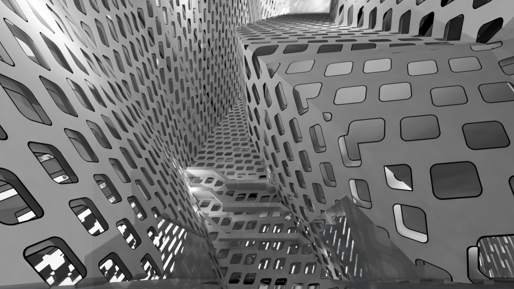 Rendered perspective looking up to the top of an atrium.