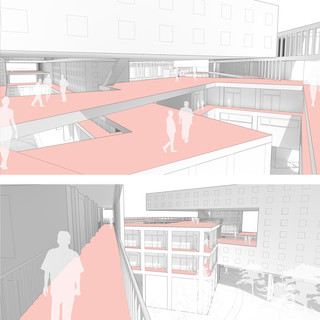 Two rendered vignettes showing exterior circulation space within site.