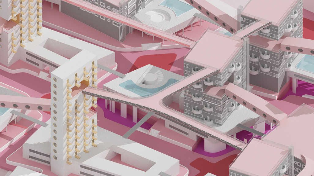 Axonometric rendering from bird's-eye  zoomed in on project site.