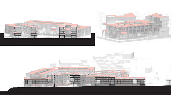 Two section perspectives and one axonometric rendering.