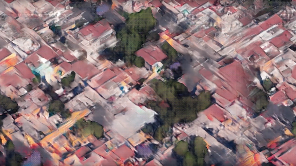 Machine learning-generated image of aerial drone photography of Mexico City