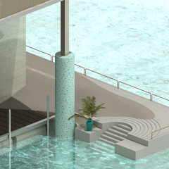 Close up drawing of where water meets a stair into a pool. Plants, title, and railings are included.