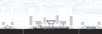 Section drawing of towers and water systems.