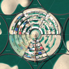 Circular Diagram of building, road, mapping, and topography typologies.