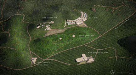 Rendering of a wine tasting and production center