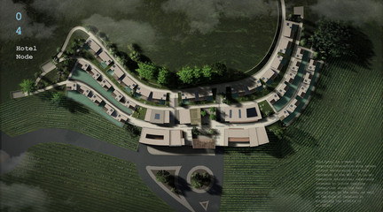 Rendering of a hotel and visitor center