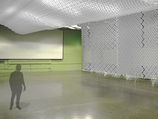 Joint aggregation becomes a white parametric wall covering the ceiling and the wall