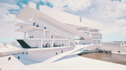 Rendering of futuristic white building