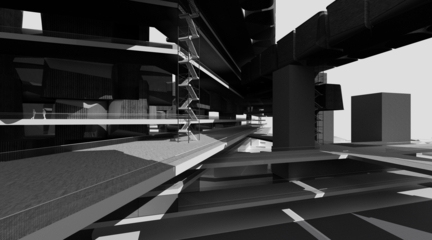 Perspective rendering of bridge and stair.