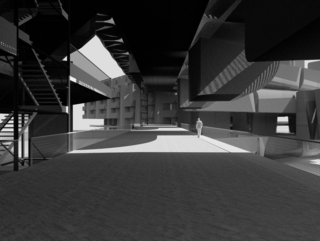 Perspective rendering of bridge space.