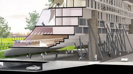 Digital rendering with sectional cut through the building