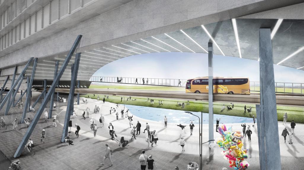Digital rendering depicting space and street activity beneath bridge