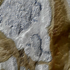 Aerial photograph of dried lake bed with blue pigmentation and a thick streak of brown pigmentation on the right side of the bed.
