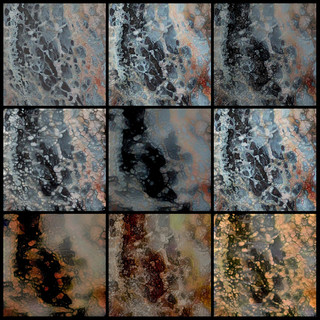 Aerial photographs of dried lake bed. Organized in a pop-art fashion with gradual changes in pixelation exhibited in nine images organized in a three by three grid. Blue and red pigmentation transitions to orange and green from top left to bottom right.