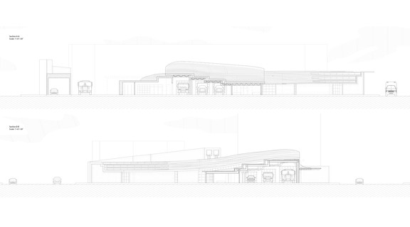 two section drawings of the Fire Station in one-eighth of an inch scale.