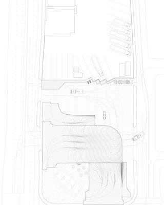 a site plan drawing of the Fire Station n one-sixteenth of an inch scale