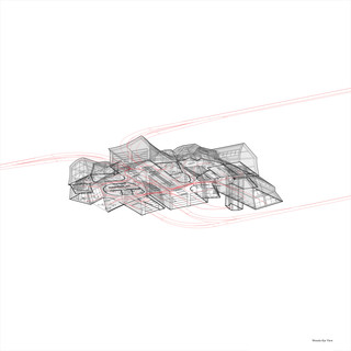 Axonometric wireframe diagram showing ground floor plan and circulation.