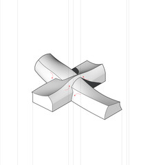 Exploded axonometric diagram showing four distinct forms that combine to form the aggregate.
