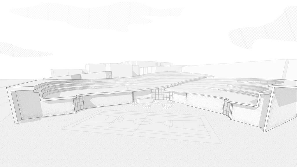 A grayscale perspective drawing of the fire station with a basketball court in the front.