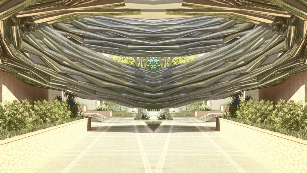 Mirrored rendering of pavilion on UCLA campus.