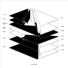 Black and white program diagram drawn in axonometric projection.