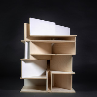 Image of a wood model against a black background