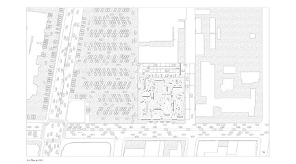 Site plan view in greyscale focusing on cars, streets and circulations.