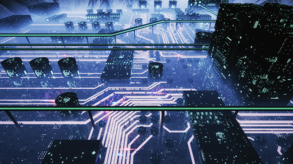 Rendering of a futuristic datacenter