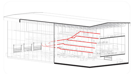 Perspective view in black and white and with red lines going through the building