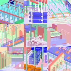 Colorful grid of nine plots