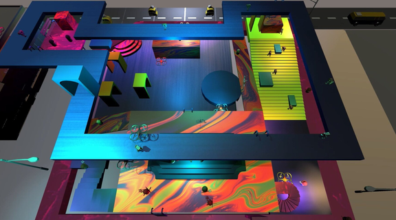 Simulation of an aerial shot of a colorful multipurpose entertainment building