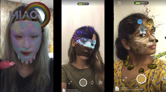 Screenshot of students with AR avatars superimposed over their faces