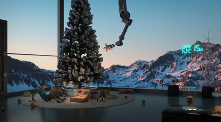 Video still showing a christmas tree in front of a window looking over snowy mountains
