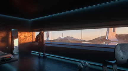 Video still of a person looking out of a window towards a futuristic scene